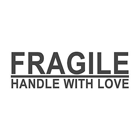 Fragile, Griff mit Love voreingefärbter, Office Gummi Stempel (# 760607-f), Stil F Large size (58 x 18mm) rot