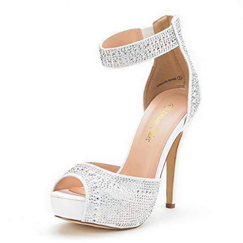 Dream pairs swan-05 scarpe tacco alto vestito plaform pump per donna bianco 38 eu