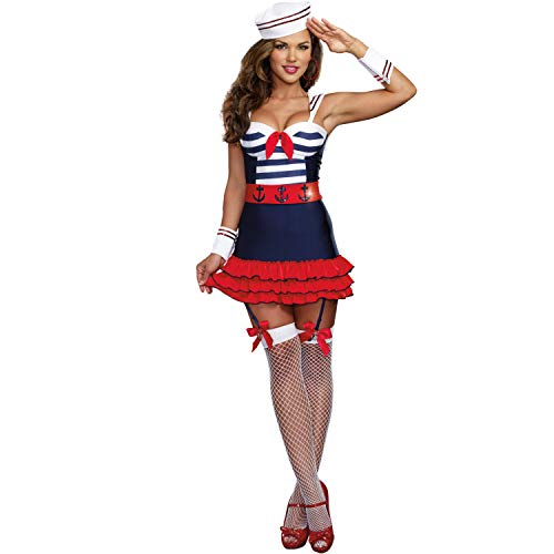 Damen Kostüm Kleid Matrosin Sailor Navy Karneval Marine-Kleid - Damen Seemann Pin Up Kostüm