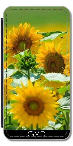 Leder Flip Case Tasche Hülle für Apple iPhone 5/5S - Sonnenblume Sonne Natur by WonderfulDreamPicture Similpelle