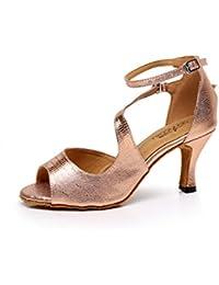 Zapatillas De Baile Latino Interior Para Mujeres Salsa / Tango / Té / Samba / Moderno / Jazz Dance Party Noche Zapatos De Baile Sandalias Tacones Altos,RoseGold-heeled7.5Cm-UK5.5/EU38/Our39