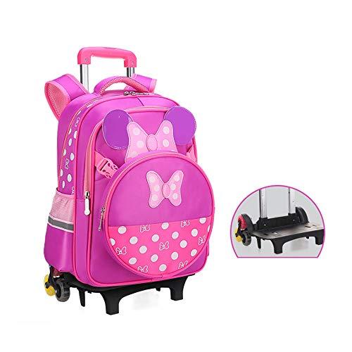 YSZDM Le Sac de Chariot des Enfants, Le Chariot à Motif d'arc d'enfants Roulant Le Sac à Dos de Sac à Dos pour Le Livre Primaire à Roues de Filles Portent Le Valise avec Six Roues,Purple