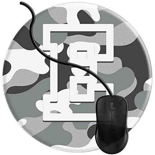 Mauspad Buchstabe E Militär Camo Camouflage Pattern Monogram, Runde Gaming Mauspad Matte Reibungslos Weich Rutschfester Gummi Basis für PC Laptop 1U1705