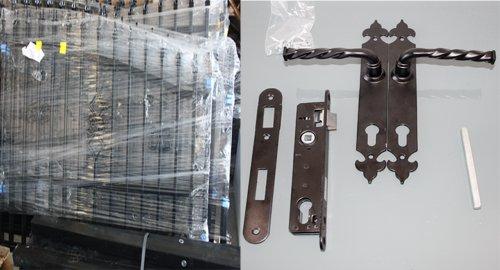 Luxus4Home 4,9m designer Set AUTOMATIK Doppelflügeltor 4,0m Toreinfahrt inkl. Gartentor 0,9m ecxclusiv Gartenzaun Komplett-Set inkl. Motor, 2 Fernbedienungen, Torelemente, Pfosten und Beschlag