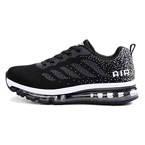 Axcone Homme Femme Air Running Baskets Chaussures Outdoor Running Gym Fitness Sport Sneakers Style Multicolore Respirante - 34EU-46EU, Noir, 45 EU