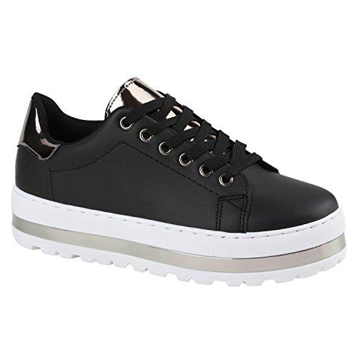 Damen Sneakers Schleifen Metallic Kappe Sneaker Low Velours Lack Freizeit Zipper Schuhe 135959 Schwarz Silber 37 | Flandell® (Metallic-velour)