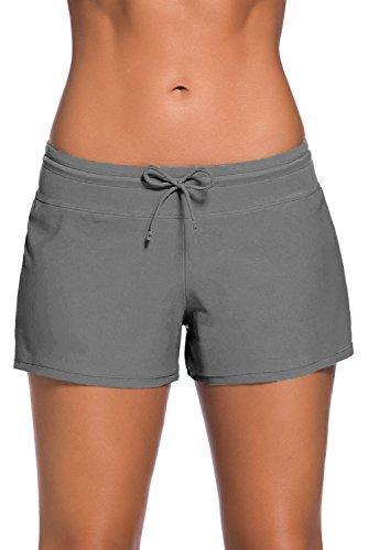 NLOVE Damen Badeshorts Bikinihose Schwimmen Badehose Schwimmshorts Hotpants Wassersport UV-Schutz- Gr. L (Etikettgröße: 16), Gray