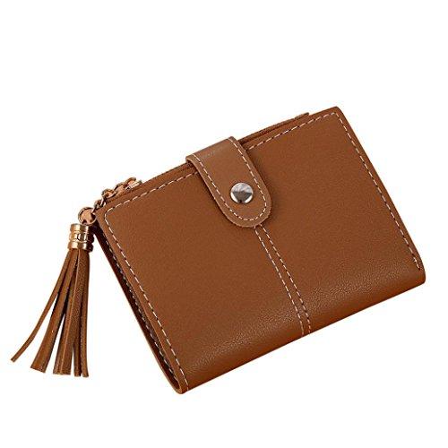 ESAILQ Femmes Simple Court Tassel Porte-monnaie Carte de sac à main Titulaires
