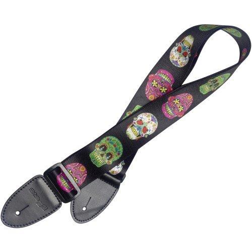 Stagg 22436 mexikanischer Totenmasken Design Terylene Gitarrengurt (Breite: 50 mm, Länge: 82-141 cm) schwarz/weiß/grün/rosa