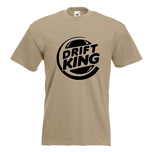 KIWISTAR - Drift King T-Shirt in 15 verschiedenen Farben - Herren Funshirt bedruckt Design Sprüche Spruch Motive Oberteil Baumwolle Print Größe S M L XL XXL Khaki
