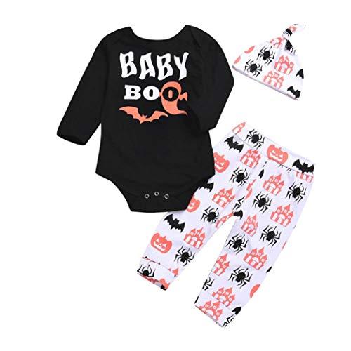 Halloween Kleidung Sets Rosennie 3 PCS Neugeborenen Baby Brief Strampler Tops Cartoon Drucken Hosen Outfits Set Kleidung Set+ Hut Langarm Kinderkleidung Set Kostüme für Baby(Schwarz)