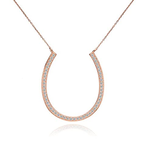 EVER FAITH® 925 Sterling Silver Pave CZ Graduation Gifts Lucky Horseshoe Necklace - Rose Gold-Tone