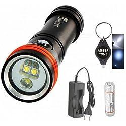 Archon D15vp Blanc Rouge CREE LED 1300lumens 110/30° 100m plongée lampe torche vidéo spot avec batterie + chargeur