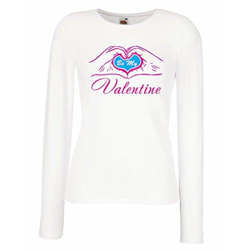 Kostüm Kerl Nerd - lepni.me Weibliche Langen Ärmeln T-Shirt Sei Meine Valentinsliebe, tolle Geschenkideen, romantischer Stil. (Large Weiß Magenta)