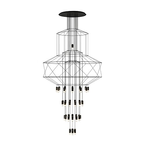 Vibia wireflow Chandelier 0374 Suspension LED, noir RAL 9005 laqué 21082 lm 2700 K CRI > 80 Dali Push 1-10 V 50-60 Hz H 307 cm Ø 150 cm