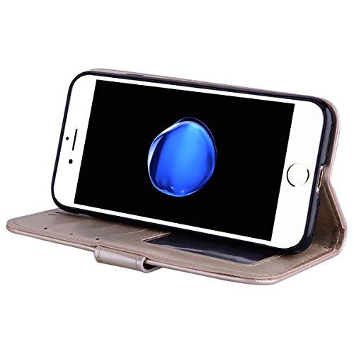 Etui iPhone 7,Coque iPhone 8 , Bling Glitter Licorne Étui Protection Coque Wallet PU en Cuir Housse la Haute Qualité Pochette Anti-rayures Couverture Bumper Rabat Magnétique Antichoc Cuir Véritable Ca Or