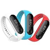 Anjoo Compatibel met Xiaomi Mi Band 3 armband [3 stuks], Sport vervangbandje horlogeband voor Mi Band 4 Siliconen verstelbare Soft armbanden voor Xiaomi Mi Band 3 / Mi Band 4