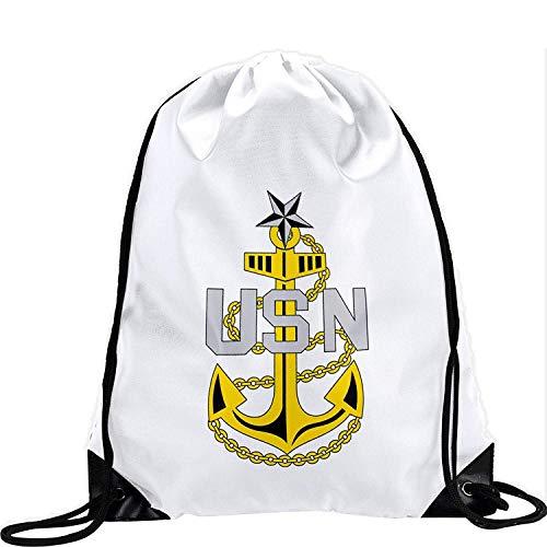 Large Drawstring Bag with US Navy Senior Chief Petty Officer, rank ins (Collar) - Long Lasting Vibrant Image (Us-navy Chief)