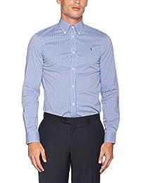 eterna Herren Businesshemd Fit Langarm Blau Gestreift mit Modern Kent-Kragen
