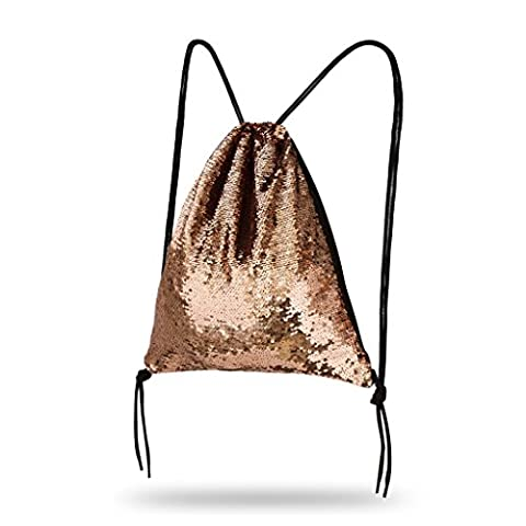 Lady Donovan - Turnbeutel Sportbeutel Tasche Bling Bag Jute-Beutel Glitzer einfarbig - Rose Gold