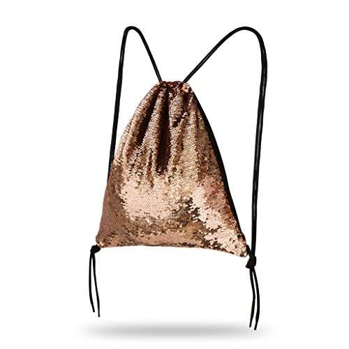 Lady Donovan - Turnbeutel Sportbeutel Tasche Bling Bag Jute-Beutel Glitzer einfarbig Rose Gold