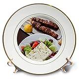 3dRose CP 208051_ 1Griechenland Peloponnes Korinth Griechischer Salat und Souvlaki mit Pommes Frites Porzellan Teller, 20,3cm