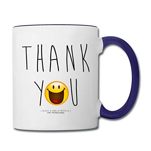 Smiley World Thank You Danke Tasse zweifarbig, Weiß/Kobaltblau