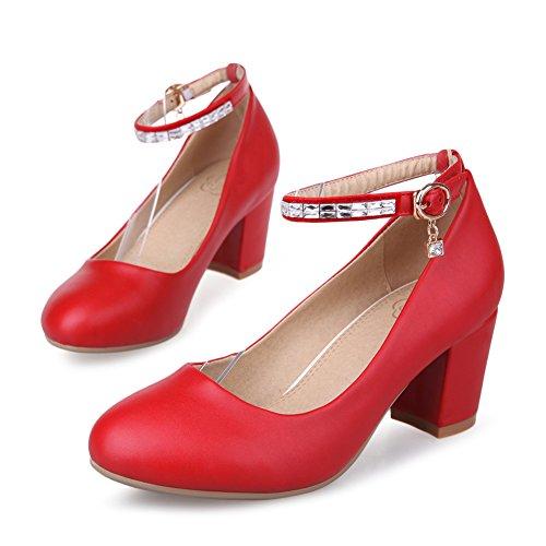 Tête ronde avec des chaussures talons chunky à l'été/ shallow chaussure boucle strass/Talon haut C