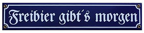 """Frei Bier Emaille Schild """"Freibier gibt's Morgen"""" 8 x 40 cm Emailschild blau."""