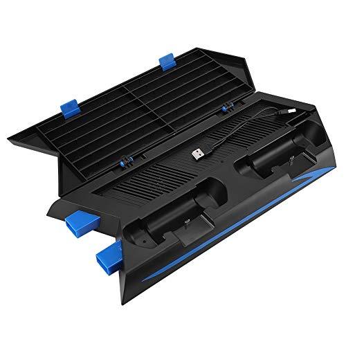 Bewinner Aufbewahrungs-/Ladehalterung für PS4 Konsole, multifunktionale Halterung mit 2 Ultra leisen intelligenten Lüftern Integrierte Ladehalterung Design -