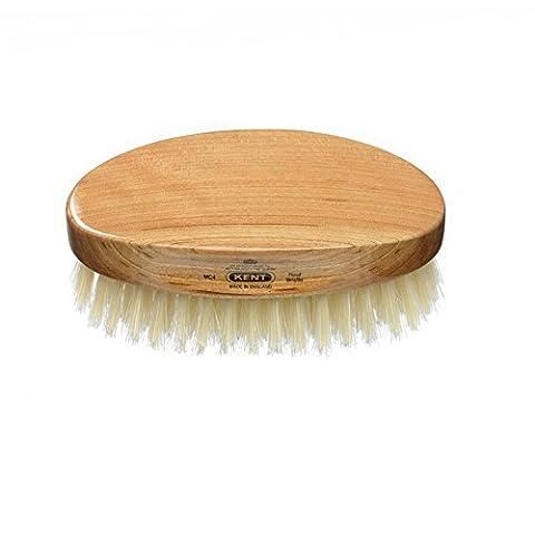 Kent Oval Military Style Bristle Brush for Men, Cherry Wood White