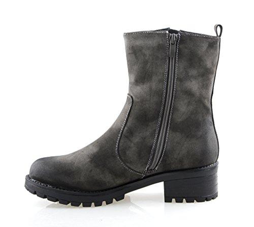 Eyekepper Chaussure fashion femme demoiselle - chaussures botte a talon fermuture a glissiere hiver Gris
