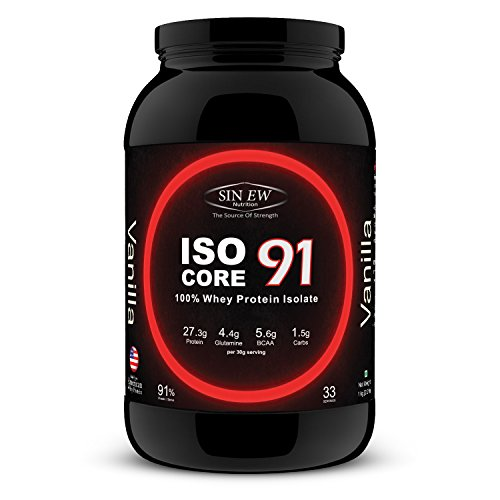 Sinew Nutrition Isocore91 100% Whey Protein Isolate Powder, 1 Kg / 2.2 Lbs - Vanilla  available at amazon for Rs.1899