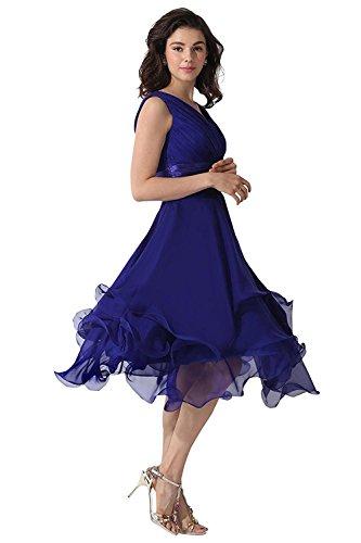 Beonddress Damen V-Ausschnitt Chiffon Brautjunfer Kleid Rüschen lang Abschlussball AbendKleid Gelb