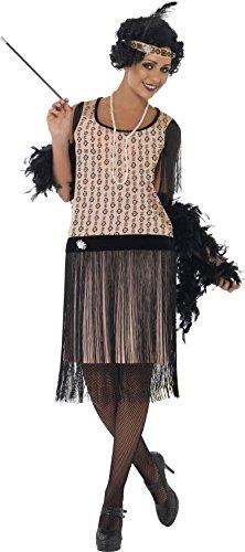 (Smiffys Damen 20er Coco Flapper Kostüm, Kleid, Zigarettenspitze, Halskette und Kopfschmuck, Größe: M, 28820)