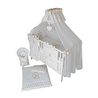 Baby-Bettwaren, Komplettset XL,10-teilig, Bettwäsche, 100% Baumwolle mit Stickerei + Moskitonetz, mit Teddy/Bär besticktes Motiv, für Mädchen oder Jungen (Gold, 120x60cm)