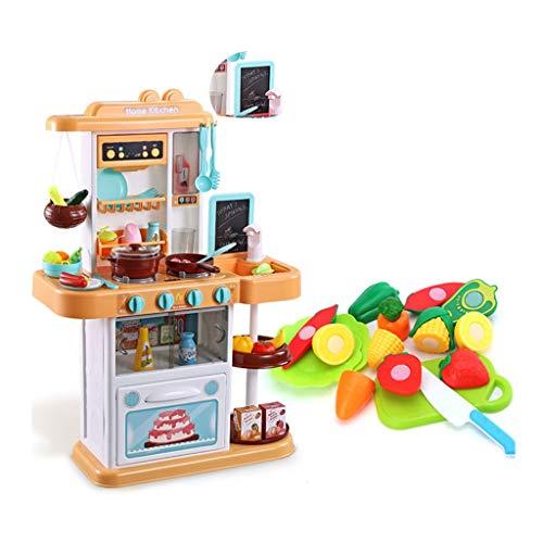 Spielzeugsets Kunststoff küche spielsets Puzzle Kinder küchengeschirr Spielzeug lehrmittel echter Wasserhahn dampf mit zeichenbrett 35 zubehör Geschenke (Color : Yellow, Size : 48 * 20 * 74cm)