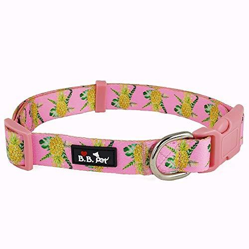 Bestbuddy Pet BBP001 Hundehalsband aus strapazierfähigem Nylon, Ananas-Design, verstellbar, mit Schnalle, Rosa M Rose -