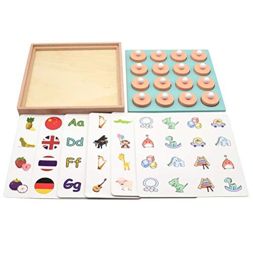Toyvian Holz Memory Match Schachspiel Puzzles Schachbrett Karte für Kinder Kinder Frühe Pädagogische Logische LearningToy Familie Party Blöcke Spielzeug (Memory Match-karten)