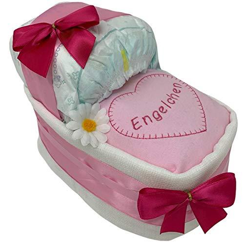 Kleines Windelbettchen Engelchen Girl Geschenk zur Geburt oderTaufe. Geschenkfertig in Folie verpackt auf Wunsch mit kostenlosen Grußkärtchen und Wunschtext rosa Mädchen Windeltorte