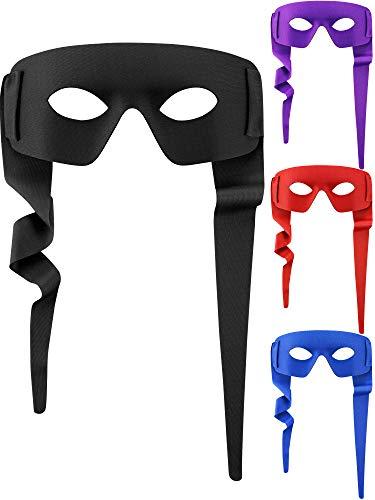 8 Stücke Halloween Augenmaske Cosplay Bandit Maske Einstellbare Halbau Genmaske mit Krawatten für Kostüm Zubehör (Schwarz, Blau, Lila, - Bandit Kostüm Halloween