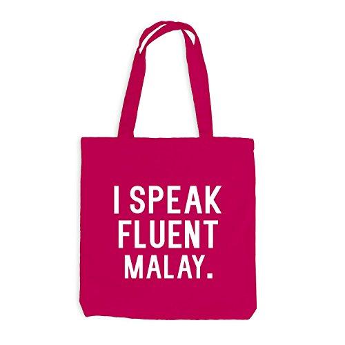 Jutebeutel - I speak fluent Malay - Sprache Pink