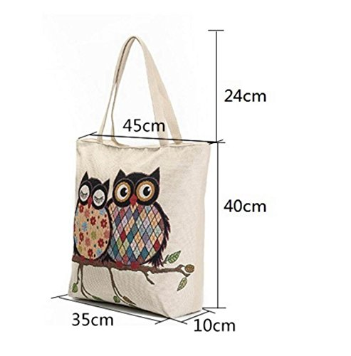 FZHLY Casual Canvas Shoulder Bag Signore Gufo Sveglio Borsa A Tracolla,600b 600b