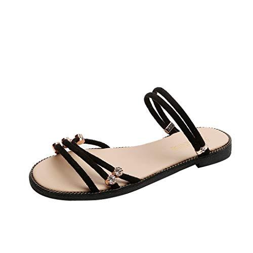 ✿Eaylis Damen Sandalen Pearl Flache Strandschuhe BöHmischen Sommer Strand Schuhe Hausschuhe Stilvoll und elegant