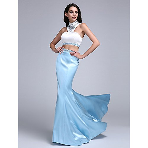 kekafu Mermaid / Trompete hoher Kragen Sweep / Pinsel Zug Stretch Satin prom Formale Abendkleid mit Perlenstickerei von TS, Regenbogen, US8/UK 12 / EU 38, Weiß, Salbei (Salbei Goa)