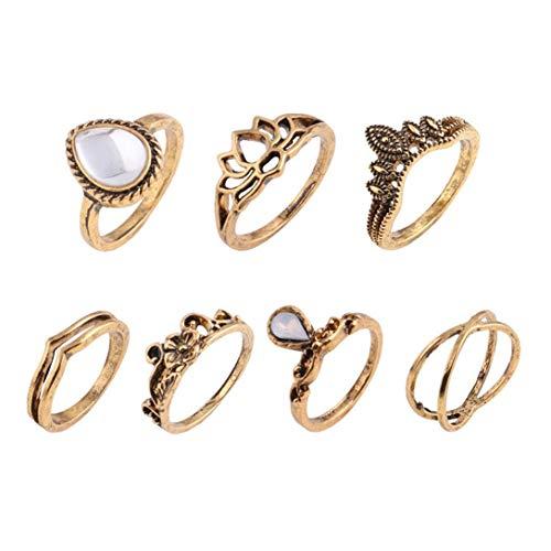 Christoopher 11Vintage Rose mit Diamanten Blätter Geschnitzt Totem Kombination Set Ring (Gold)