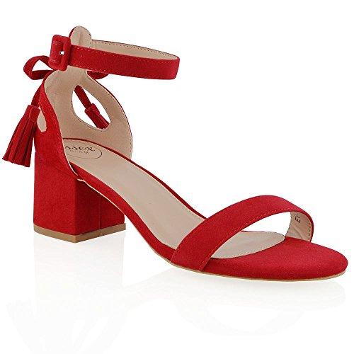 ESSEX GLAM Sandalo Donna Finto Scamosciato Cut-Out Tacco a Blocco Cinturino Caviglia Fiocco Rosso Finto Scamosciato