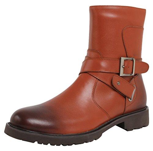 SERDAOUMANI boots de Martin hombre tête ronde Cuir de bœuf mariage et travail Marron