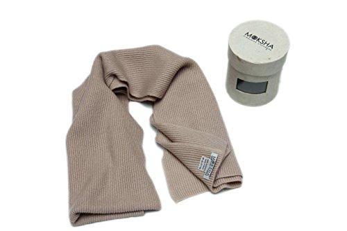 """100% sciarpa Mens cachemire, cachemire lavorato a maglia Sciarpa, Mongolia Cashmere Yarn (26/2) inverno spesso a coste sciarpa di cachemire, Marrone 68 """"X 12"""""""