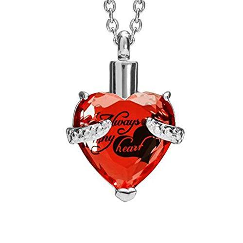 Diseño de Corazón para Cenizas Collar con Colgante de urna de Acero Inoxidable Personalizado,Recuerdos con Kit de Relleno y Caja de Regalo, Red